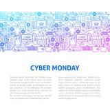 Πρότυπο σχεδίου γραμμών Δευτέρας Cyber Στοκ Φωτογραφίες