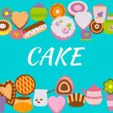 Πρότυπο σχεδίου εμβλημάτων με τα κέικ διανυσματική απεικόνιση