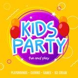 Πρότυπο σχεδίου ιπτάμενων εορτασμού κομμάτων διασκέδασης παιδιών Διακόσμηση εμβλημάτων γεγονότος παιδιών Υπόβαθρο αφισών πρόσκλησ Στοκ Εικόνες