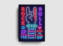 Πρότυπο σχεδίου ιπτάμενων κόμματος νύχτας μουσικής ροκ Βράχος - και - σημάδι νέου ρόλων, ελαφρύ έμβλημα, πρόσκληση συναυλίας βράχ διανυσματική απεικόνιση