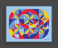 Πρότυπο σχεδίου κάλυψης Αφηρημένο ζωηρόχρωμο γεωμετρικό σχέδιο επίσης corel σύρετε το διάνυσμα απεικόνισης Μπορέστε να χρησιμοποι Στοκ Φωτογραφία