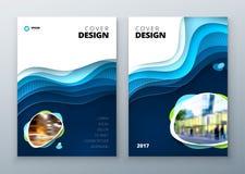 Πρότυπο σχεδίου κάλυψης Το έγγραφο χαράζει την αφηρημένη κάλυψη για το περιοδικό ιπτάμενων φυλλάδιων ή την μπλε κάλυψη σχεδίου κα απεικόνιση αποθεμάτων