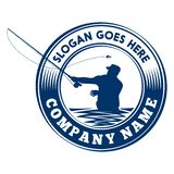 Πρότυπο σχεδίου λογότυπων αλιείας μυγών Πρότυπο σχεδίου διανύσματος και απεικόνισης ελεύθερη απεικόνιση δικαιώματος