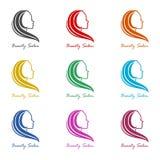 Πρότυπο σχεδίου λογότυπων για το εικονίδιο σαλονιών ομορφιάς, σύνολο χρώματος ελεύθερη απεικόνιση δικαιώματος