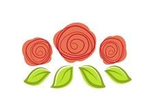 Πρότυπο σχεδίου λογότυπων τριών κόκκινο τριαντάφυλλων διανυσματικό ελεύθερη απεικόνιση δικαιώματος