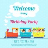 Πρότυπο σχεδίου της αφίσας για την πρόσκληση κομμάτων παιδιών Απεικόνιση των παιχνιδιών τραίνων απεικόνιση αποθεμάτων