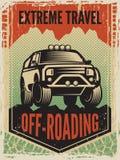 Πρότυπο σχεδίου της αφίσας στο αναδρομικό ύφος με το μεγάλο αυτοκίνητο suv Από την οδική μηχανή απεικόνιση αποθεμάτων