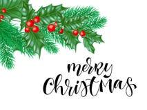 Πρότυπο σχεδίου υποβάθρου ευχετήριων καρτών Χαρούμενα Χριστούγεννας συρμένου του χέρι κειμένου αποσπάσματος καλλιγραφίας, του στε Στοκ εικόνα με δικαίωμα ελεύθερης χρήσης