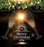 Πρότυπο σχεδίου Χριστουγέννων με τα γυαλιά CHAMPAGNE, τα χρυσά αποτελέσματα, το τόξο, και το φως λάμψης επίσης corel σύρετε το δι Στοκ εικόνες με δικαίωμα ελεύθερης χρήσης
