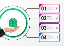 Πρότυπο σχεδίου Infographic Δημιουργική έννοια με 4 βήματα Στοκ Φωτογραφίες