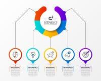 Πρότυπο σχεδίου Infographic Δημιουργική έννοια με 5 βήματα Στοκ φωτογραφία με δικαίωμα ελεύθερης χρήσης