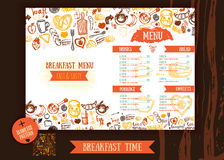 Πρότυπο σχεδίου επιλογών προγευμάτων Σύγχρονο hand-drawn σκίτσο με την εγγραφή με το ψωμί, κέικ, τσάι, αυγά Σχέδιο τροφίμων Στοκ φωτογραφίες με δικαίωμα ελεύθερης χρήσης