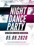 Πρότυπο σχεδίου κόμματος χορού νύχτας στο polygonal ύφος Γεγονός κομμάτων χορού λεσχών Αφίσα μουσικής του DJ προωθητική διανυσματική απεικόνιση