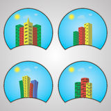 Πρότυπο σχεδίου λογότυπων χρώματος σπιτιών Στοκ Εικόνες