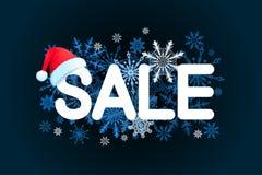 Πρότυπο σχεδίου πώλησης Χριστουγέννων στο μαύρο υπόβαθρο με το κόκκινο καπέλο, snowflake επίσης corel σύρετε το διάνυσμα απεικόνι Στοκ φωτογραφία με δικαίωμα ελεύθερης χρήσης