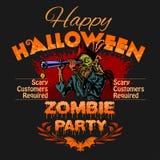 Πρότυπο σχεδίου συμβαλλόμενου μέρους αποκριών με το zombie και θέση για το κείμενο διανυσματική απεικόνιση