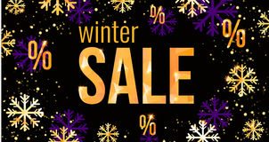Πρότυπο σχεδίου χειμερινής πώλησης με καθιερώνοντα τη μόδα χρυσά ή ιώδη snowflakes εύκολος ελεύθερη απεικόνιση δικαιώματος