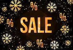 Πρότυπο σχεδίου χειμερινής πώλησης με καθιερώνοντα τη μόδα χρυσά snowflakes Οριζόντιο νέο έμβλημα έτους απεικόνιση αποθεμάτων