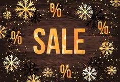 Πρότυπο σχεδίου χειμερινής πώλησης με καθιερώνοντα τη μόδα χρυσά snowflakes Οριζόντιο νέο έμβλημα έτους Διανυσματική απεικόνιση
