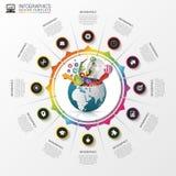 Πρότυπο σχεδίου Infographic δημιουργικός κόσμος Ζωηρόχρωμος κύκλος με τα εικονίδια διάνυσμα ελεύθερη απεικόνιση δικαιώματος
