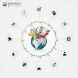 Πρότυπο σχεδίου Infographic δημιουργικός κόσμος Ζωηρόχρωμος κύκλος με τα εικονίδια διάνυσμα διανυσματική απεικόνιση