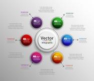 Πρότυπο σχεδίου Infographic που μπορεί να χρησιμοποιηθεί για το σχεδιάγραμμα ροής της δουλειάς, διάγραμμα, επιλογές αριθμού, σχέδ Στοκ Εικόνα