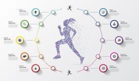 Πρότυπο σχεδίου Infographic τρέξιμο Ζωηρόχρωμοι κύκλοι με τα εικονίδια επίσης corel σύρετε το διάνυσμα απεικόνισης Στοκ Φωτογραφίες