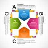 Πρότυπο σχεδίου Infographics εκπαίδευσης Τυλιγμένη μολύβι κορδέλλα Στοκ εικόνα με δικαίωμα ελεύθερης χρήσης