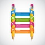 Πρότυπο σχεδίου Infographics εκπαίδευσης Τυλιγμένη μολύβι κορδέλλα Στοκ Εικόνα