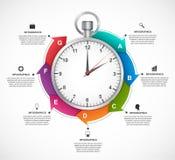 Πρότυπο σχεδίου Infographics Χρονόμετρο με διακόπτη με ένα κυκλικό βέλος και το ρολόι μέσα ελεύθερη απεικόνιση δικαιώματος
