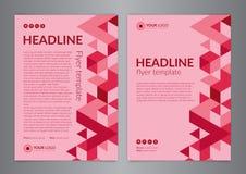 Πρότυπο σχεδιαγράμματος σχεδίου ιπτάμενων επιχειρησιακών φυλλάδιων, μέγεθος A4, με το σχέδιο τριγώνων ανασκοπήσεις σύγχρονες ελεύθερη απεικόνιση δικαιώματος