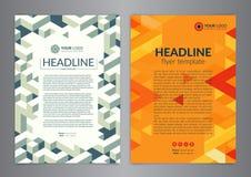 Πρότυπο σχεδιαγράμματος σχεδίου ιπτάμενων επιχειρησιακών φυλλάδιων με το γεωμετρικό σχέδιο ανασκοπήσεις σύγχρονες Στοκ φωτογραφία με δικαίωμα ελεύθερης χρήσης