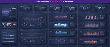 Πρότυπο ταμπλό Infographic με τις επίπεδα γραφικές παραστάσεις σχεδίου και τα διαγράμματα πιτών σε απευθείας σύνδεση στατιστικές  διανυσματική απεικόνιση