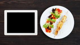 Πρότυπο ταμπλετών για τις επιλογές, τη συνταγή ή το μαγείρεμα app Στοκ Φωτογραφία