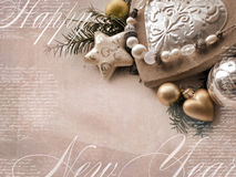 Πρότυπο της κάρτας Χριστουγέννων Το υπόβαθρο διακοπών με το αστέρι, καρδιά, fir-tree διακλαδίζεται, παιχνίδια Χριστουγέννων, κενό Στοκ Εικόνες