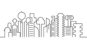 Πρότυπο τοπίων πόλεων Λεπτό τοπίο πόλεων γραμμών Η εικονική παράσταση πόλης, φουτουριστική πόλη απομόνωσε την απεικόνιση περιλήψε ελεύθερη απεικόνιση δικαιώματος