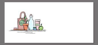 Πρότυπο του οριζόντιου εμβλήματος με φιλικά μηά αντικείμενα αποβλήτων eco απεικόνιση αποθεμάτων