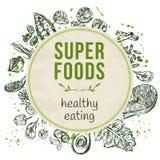 Πρότυπο το χέρι που σύρεται με superfoods ελεύθερη απεικόνιση δικαιώματος