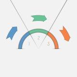 Πρότυπο τρία Infographic βέλη και semicircle θέσεων Στοκ Εικόνες