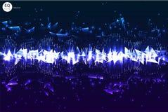 Πρότυπο υποβάθρου αφισών κομμάτων χορού με τα τρίγωνα και τα μόρια κύκλων, τις γραμμές, το κυριώτερο σημείο και τις σύγχρονες γεω στοκ φωτογραφία