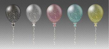 Πρότυπο υποβάθρου εορτασμού με τα ζωηρόχρωμες μπαλόνια, το κομφετί και τις κορδέλλες στο διαφανές υπόβαθρο επίσης corel σύρετε το Στοκ Φωτογραφία