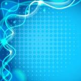 Πρότυπο υποβάθρου με τις κυματιστά γραμμές και τα σημεία στο μπλε Στοκ εικόνες με δικαίωμα ελεύθερης χρήσης