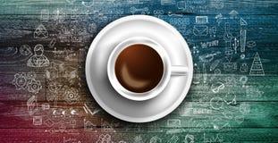 Πρότυπο υποβάθρου Infograph με έναν φρέσκο καφέ στον πραγματικό ξύλινο πίνακα Στοκ φωτογραφία με δικαίωμα ελεύθερης χρήσης