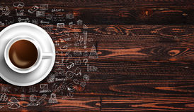 Πρότυπο υποβάθρου Infograph με έναν φρέσκο καφέ στον πραγματικό ξύλινο πίνακα Στοκ εικόνα με δικαίωμα ελεύθερης χρήσης