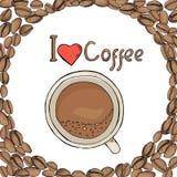 Πρότυπο υπό μορφή κύκλου των φασολιών καφέ με ένα φλιτζάνι του καφέ καφές που συμπαθώ Διανυσματική απεικόνιση στο σκίτσο διανυσματική απεικόνιση
