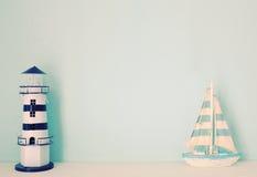 Πρότυπο φάρων και σκαφών για διακοσμημένος στο δωμάτιο στοκ φωτογραφία με δικαίωμα ελεύθερης χρήσης