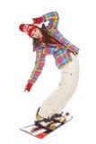 Πρότυπο φορώντας χειμερινό κοστούμι που κρατά ένα σνόουμπορντ Στοκ Εικόνες