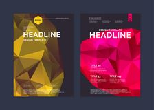 Πρότυπο φυλλάδιων για το σύγχρονο περιοδικό επιχειρήσεων και κάλυψης Αφηρημένο polygonal υπόβαθρο Στοκ Φωτογραφία