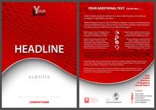 Πρότυπο φυλλάδιων με το κόκκινο κυματιστό υπόβαθρο Στοκ εικόνες με δικαίωμα ελεύθερης χρήσης