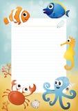 Πρότυπο φύλλων εγγράφου με τα ζώα θάλασσας κινούμενων σχεδίων στο υπόβαθρο Στοκ Εικόνα